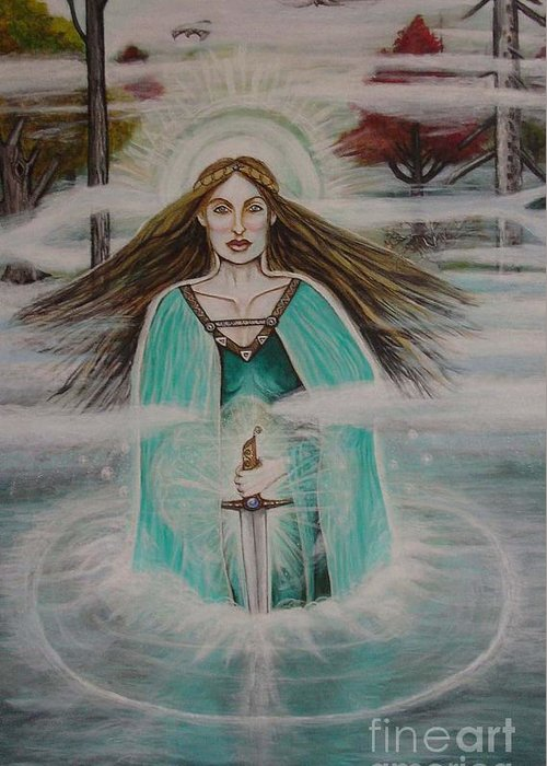 Goddess Greeting Card featuring the painting Lady Of The Lake II by Tammy Mae Moon