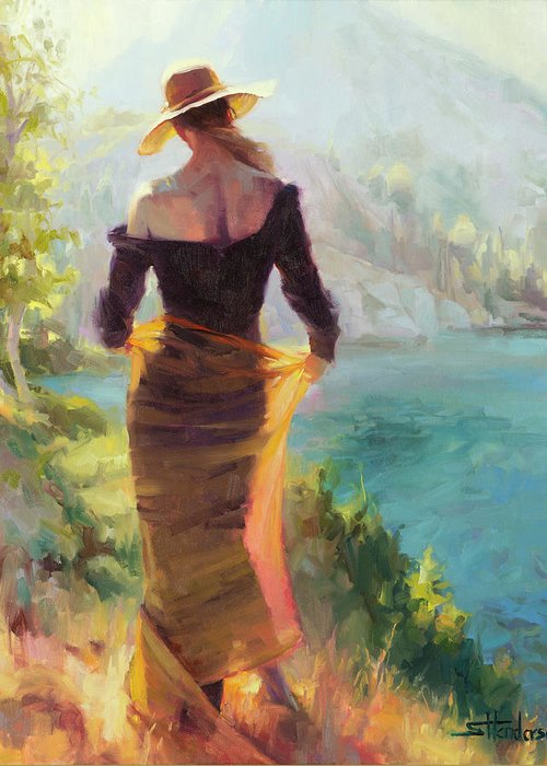 Woman Greeting Card featuring the painting Lady of the Lake by Steve Henderson