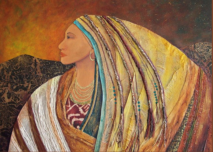 Collage Greeting Card featuring the pastel Lady Of The Mountains by Candy Mayer