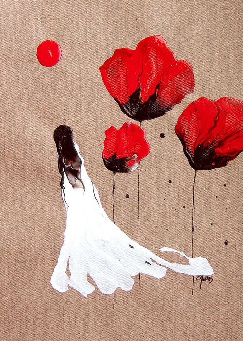 Linen Greeting Card featuring the painting Lady Of The Poppies -contemporary Abstract Woman Red Flowers Fantasy by Catherine Jeltes