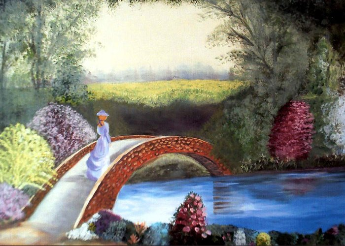 Landscape Greeting Card featuring the painting Lady On The Bridge by Julie Lamons
