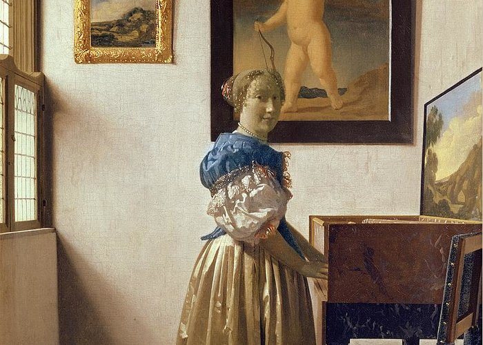 Lady Greeting Card featuring the painting Lady Standing At The Virginal by Jan Vermeer