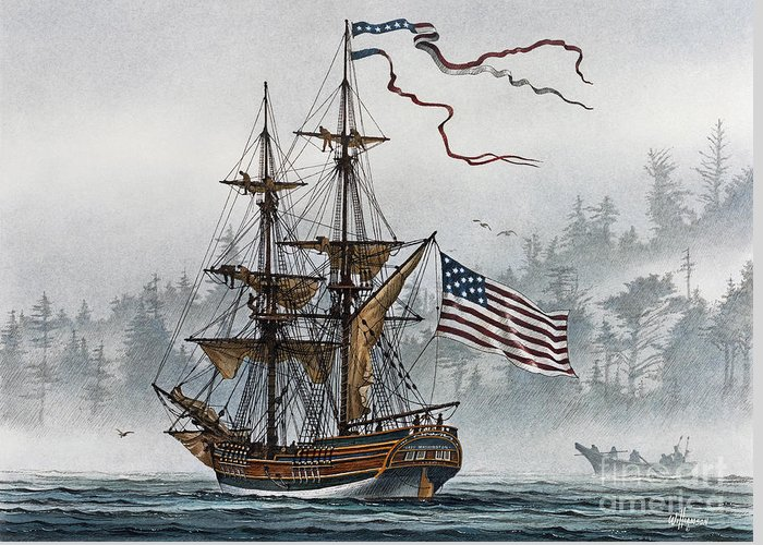Tall Ship Print Greeting Card featuring the painting Lady Washington by James Williamson