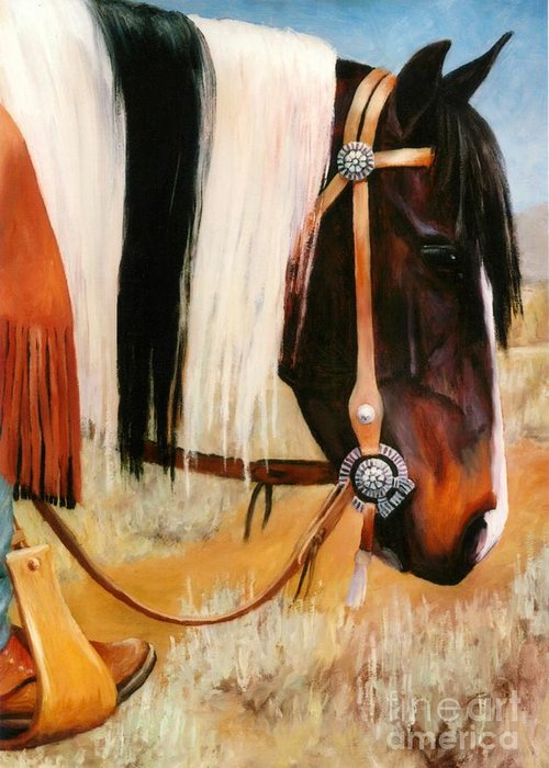 Paint Greeting Card featuring the painting Ladys Jewels Horse Painting Portrait by Kim Corpany