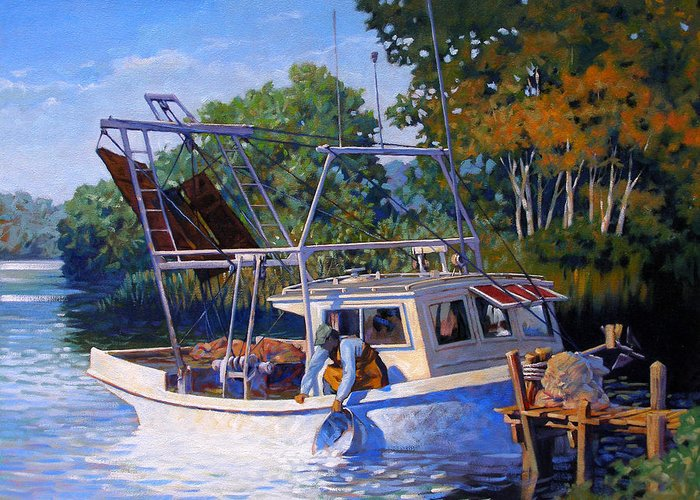 River Greeting Card featuring the painting Lafitte Skiff by Kevin Lawrence Leveque
