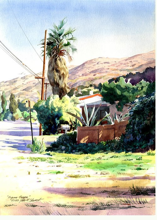 Watercolor Greeting Card featuring the painting Laguna Canyon Palm by John Norman Stewart