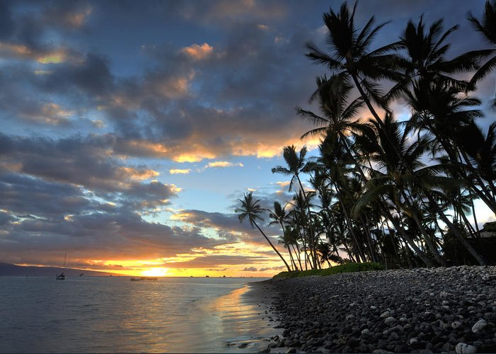 Lahaina Maui Hawaii Palmtrees Ebb Flow Beach Sunset Clouds Boats Greeting Card featuring the photograph Lahaina Sunset by James Roemmling