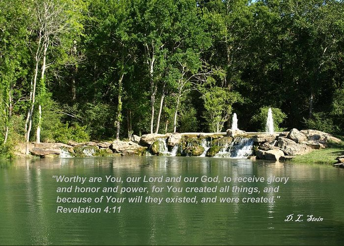 Lake Greeting Card featuring the photograph Lake At Cinco Ranch With Scripture by Dennis Stein