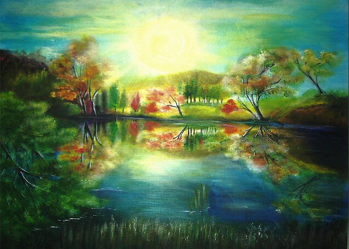 Landscape Greeting Card featuring the painting Lake At Dawn by Vivian Mosley