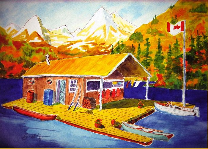 Cabin Greeting Card featuring the painting Lake Cabin by Buster Dight