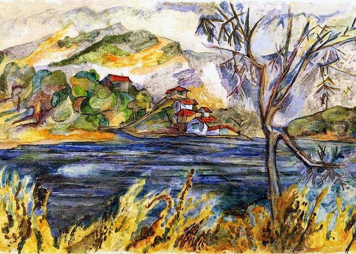 Lake Casitas Greeting Card featuring the painting Lake Casitas IIi by Lily Hymen
