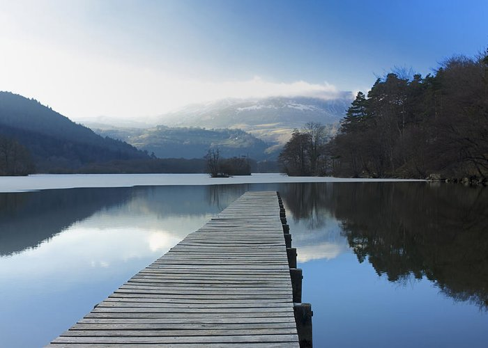 The Greeting Card featuring the photograph Lake Chambon. Auvergne. France by Bernard Jaubert