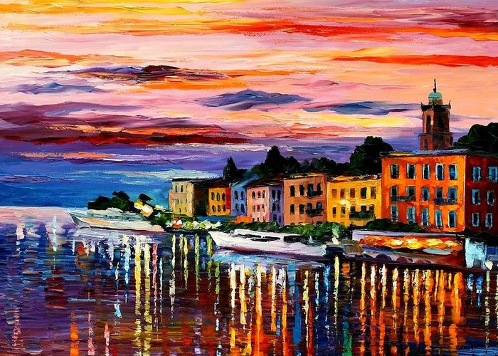 Cityscape Greeting Card featuring the painting Lake Como - Bellagio by Leonid Afremov
