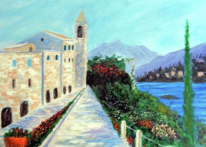 Lake Como Colors Greeting Card featuring the painting Lake Como Colors by Larry Cirigliano