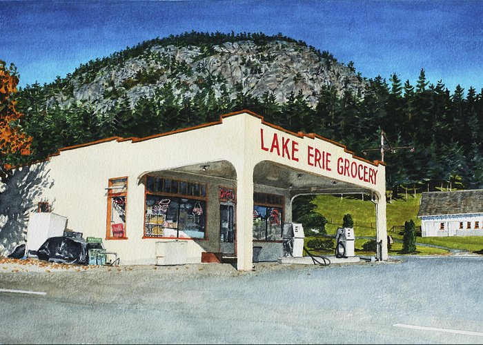 Landscape Greeting Card featuring the painting Lake Erie Grocery by Perry Woodfin