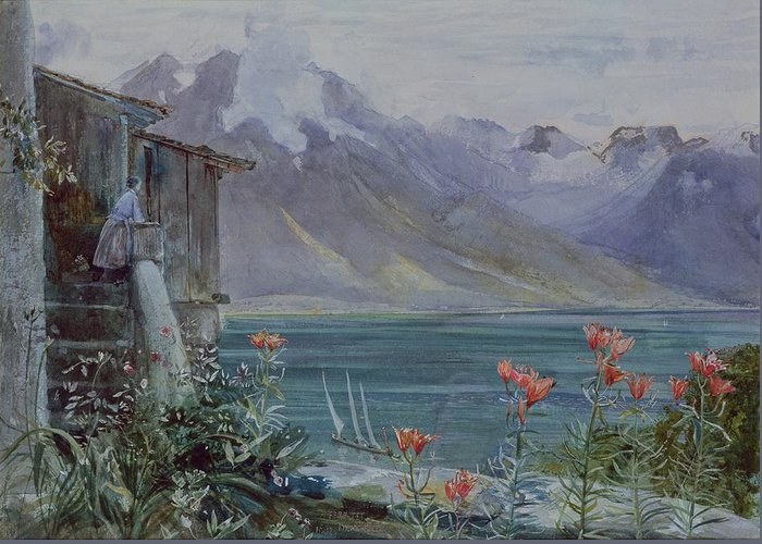 Ferritet Greeting Card featuring the painting Lake Geneva by John William Inchbold