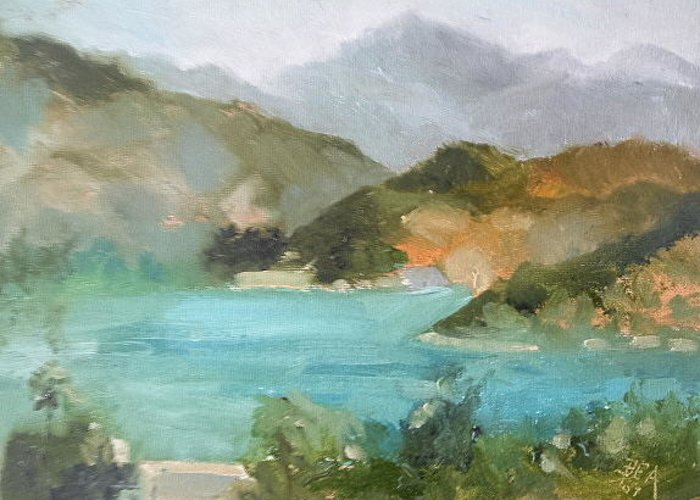 Landscape Greeting Card featuring the painting Lake Hodges by Bryan Alexander
