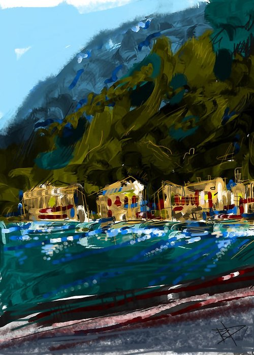 Lake Greeting Card featuring the digital art Lake Houses by Russell Pierce