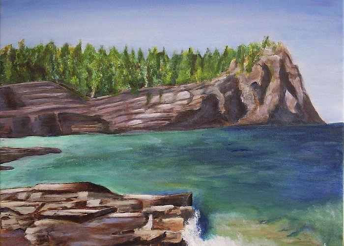 Seascape Greeting Card featuring the painting Lake Huron by Silvia Philippsohn