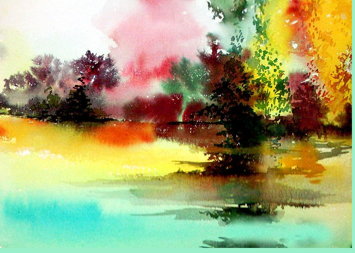 Nature Greeting Card featuring the painting Lake In Colours by Anil Nene