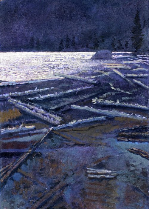 Lake Greeting Card featuring the painting Lake In Moonlight by Robert Bissett