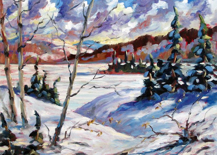 Lake Greeting Card featuring the painting Lake In Winter by Richard T Pranke