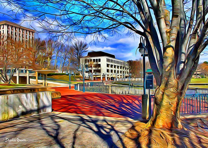 Howard County Greeting Card featuring the digital art Lake Kittamaqundi Walkway by Stephen Younts