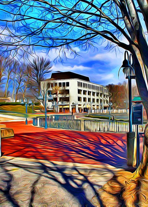 Howard County Greeting Card featuring the digital art Lake Kittamaqundi Walkway by Stephen Younts