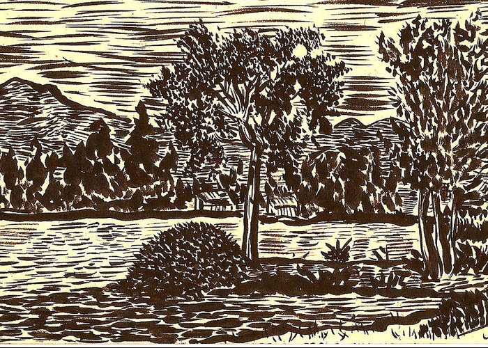Lake Greeting Card featuring the drawing Lake Leek by Al Goldfarb