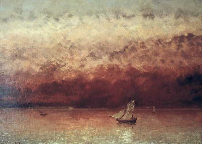 Lake Greeting Card featuring the painting Lake Leman With Setting Sun by Gustave Courbet