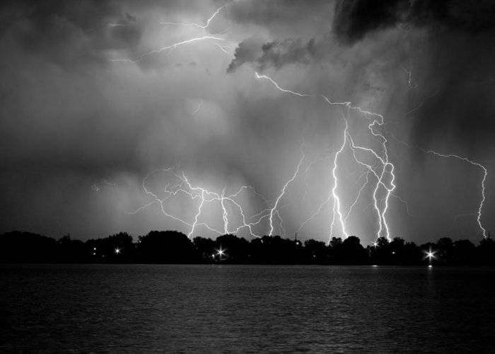 Lightning Greeting Card featuring the photograph Lake Lightning Two Bw by James BO Insogna