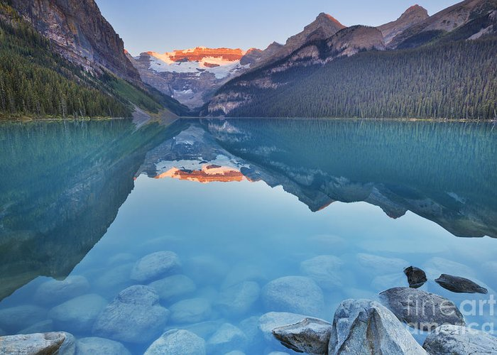 Lake Louise Greeting Card featuring the photograph Lake Louise, Banff National Park, Canada At Sunrise by Sara Winter