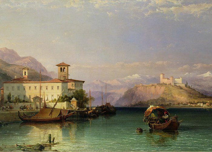 Arona Greeting Card featuring the painting Lake Maggiore by George Edwards Hering