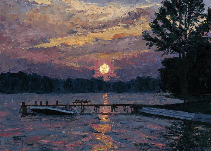 Oils Greeting Card featuring the painting Lake Martin Sunset by Tyler Smith
