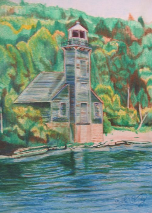 Woods Greeting Card featuring the drawing Lake Michigan Old Lighthouse by Matthew Handy
