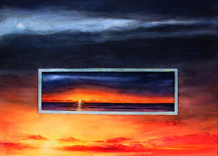 Sunrise Greeting Card featuring the painting Lake Michigan Sunrise by Nancy Ethiel