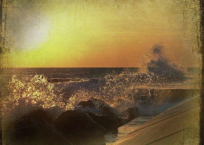 Lake Michigan Greeting Card featuring the mixed media Lake Michigan Sunset by Maria Dryfhout
