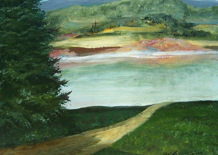 Lake Path Greeting Card featuring the painting Lake Path by Robert Harrington