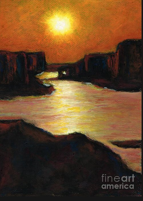 Lake Powell Greeting Card featuring the painting Lake Powell At Sunset by Frances Marino