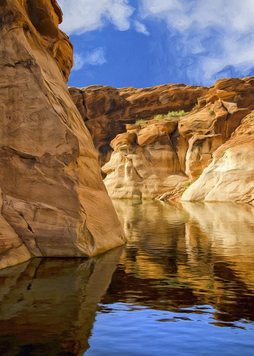Morning Greeting Card featuring the painting Lake Powell Stillness by Dominic Piperata