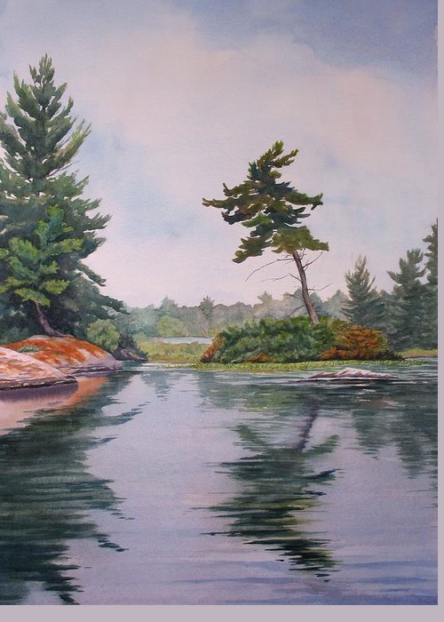 Lake Greeting Card featuring the painting Lake Reflection by Debbie Homewood