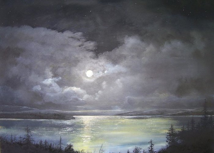 Moonscape Greeting Card featuring the painting Lake Shore Moonscape by Ken Ahlering