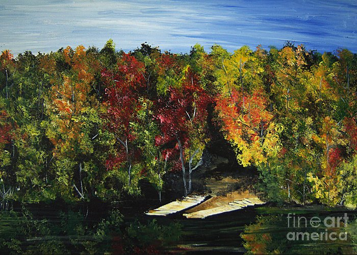 Trees Greeting Card featuring the painting Fishing by Monique Mcknight