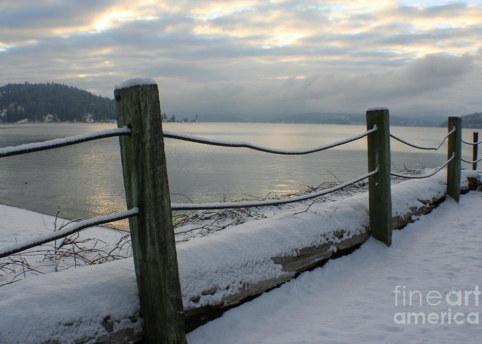 Fence Greeting Card featuring the photograph Lake Snow by Idaho Scenic Images Linda Lantzy