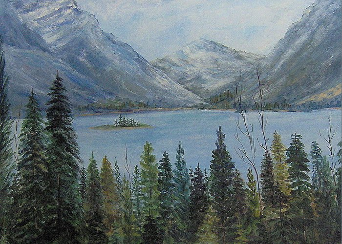 Landscape Greeting Card featuring the painting Lake St Mary by Lorna Skeie