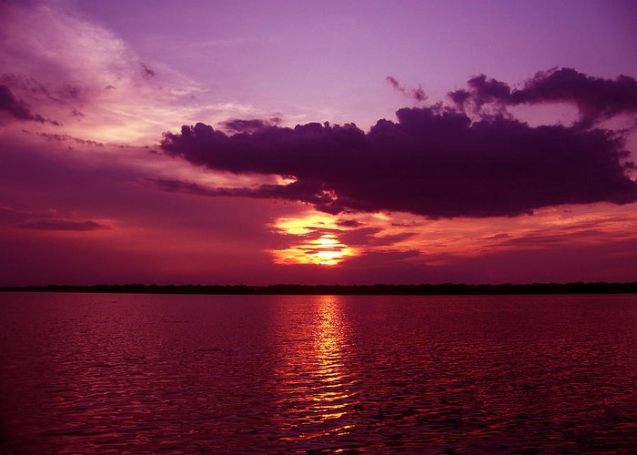 Sunset Photography Greeting Card featuring the photograph Lake Sunset by Evelyn Patrick