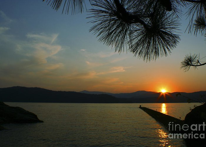 Sunset Greeting Card featuring the photograph Lake Sunset by Idaho Scenic Images Linda Lantzy