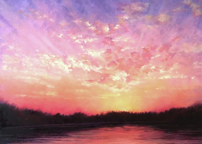 Landscape Greeting Card featuring the painting Lake Sunset by Teri Rosario