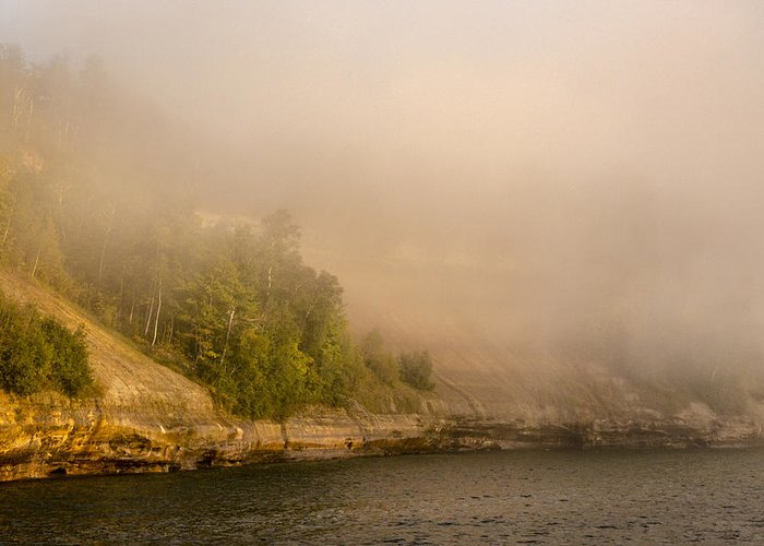 Evening Greeting Card featuring the photograph Lake Superior Fog by Jack R Perry