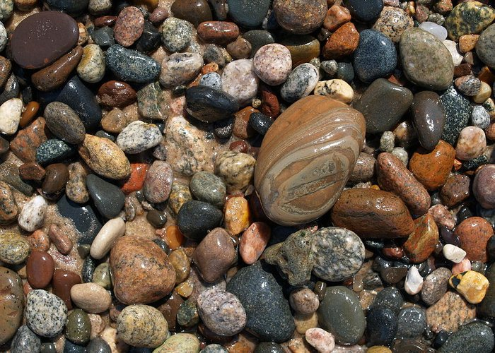 Lake Superior Greeting Card featuring the photograph Lake Superior Stones by Don Newsom